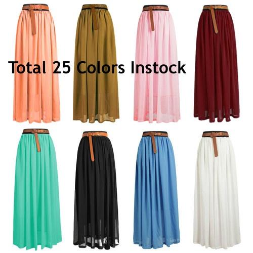 Women Lady Chiffon Pleated Retro Long Maxi Dress Elastic Waist Skirt | 25 Colors