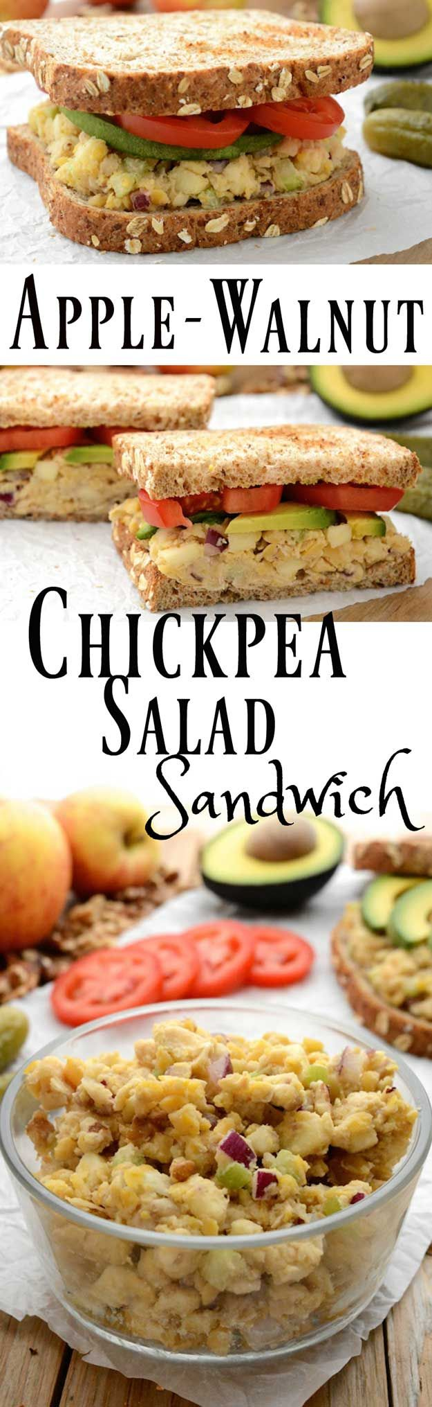 Healthy Lunches for Work - Apple-Walnut Chickpea Salad Sandwich - Easy, Quick and Cheap Clean Eating Recipes That You Can Take To Work - Weekly Meals That Are Great for Health Fitness and Weightloss - Low Fat Recipe Ideas and Simple Low Carb Meals That are High In Protein and Taste Great Cold - Vegetarian Options and Weight Watchers Friendly Ideas that Require No Heat - http://thegoddess.com/healthy-lunches-for-work