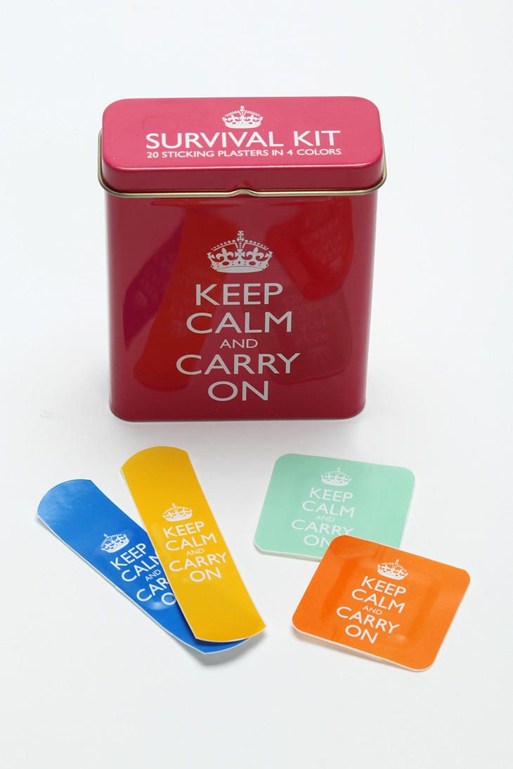 I'd buy these just for the box!  Love them!: Urbanoutfitters, Urban Outfitters, Bands Aid, Gifts Ideas, Survival Kits, Keepcalm, Keep Calm, Calm Bandage, Products