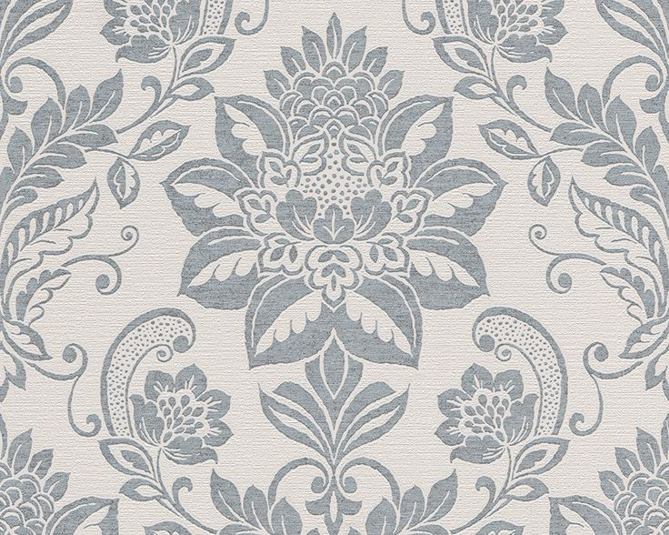 Traditional Damask Wallpaper in Beige and Blue design by BD Wall