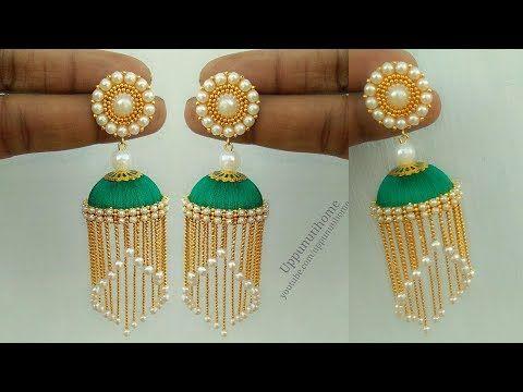 9b1d5412d How To Make Silk Thread Pearl Earrings At Home   Jhumkas Diy   Jewelry  Making   uppunutihome - YouTube