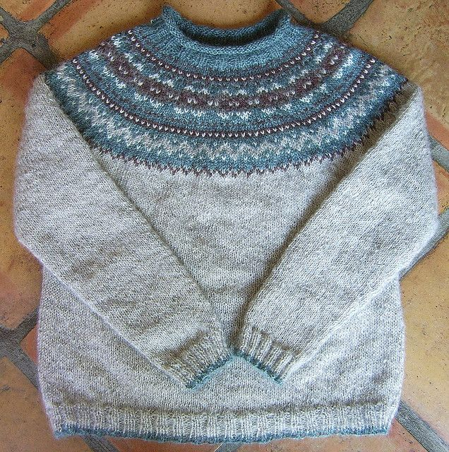 Fair isle yoke pullover sweater knitting pattern