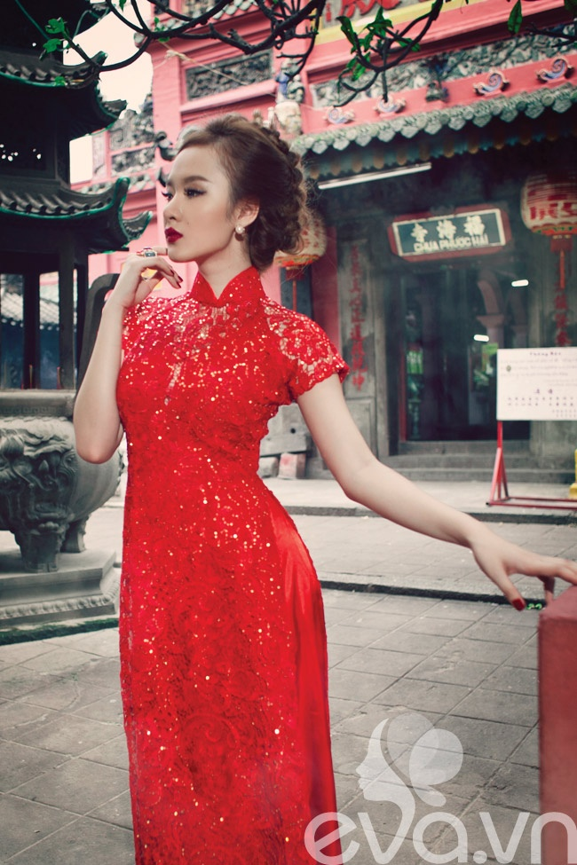 Red with Gold Sparkle Ao Dai