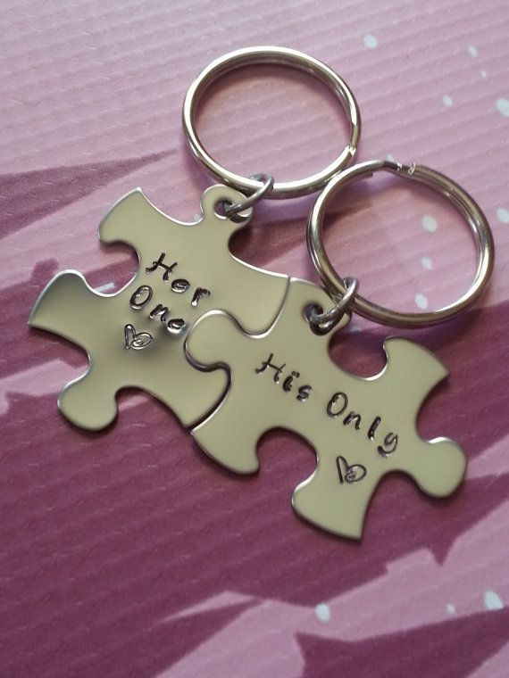 His and Her Puzzle Piece Keychain Set - Couples,Wedding, Anniversary Keychain on Etsy, $27.50