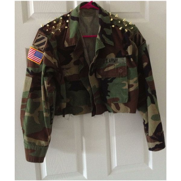 Cropped Studded Spiked Army Jacket Camo Camoflauge Fatigue BNicole... ($45) ❤ liked on Polyvore featuring outerwear, jackets, tops, shirts, blusas, brown military jacket, army camo jacket, camo jacket, patch jacket and field jacket