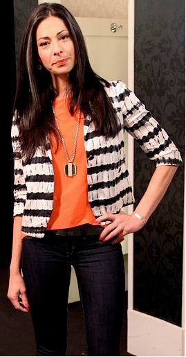 Outfit Posts: outfit post: orange shirt, olive green striped cardigan, black 'editor' pants
