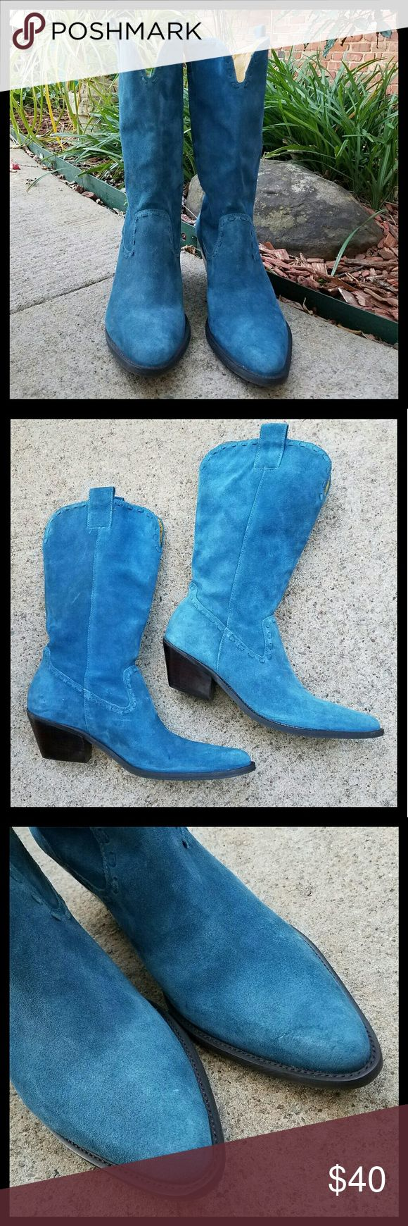 Gianni Bini Blue Suede Boots Blue suede cowboy boots.  Very little signs of light wear.  Great condition. Gianni Bini Shoes
