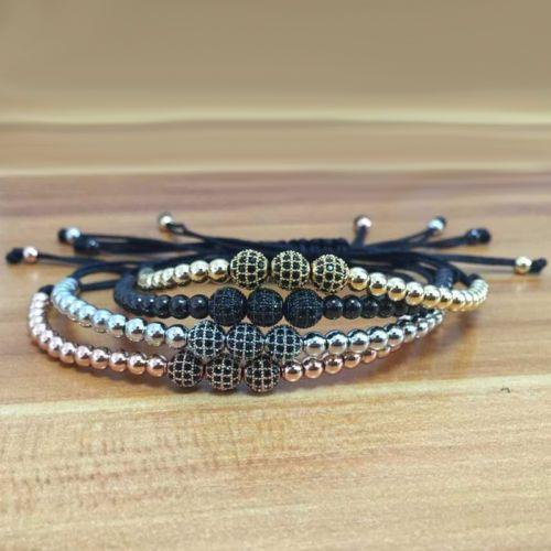 Mens-Anil-Arjandas-Rhodium-Plated-6mm-Zircon-Ball-4mm-beads-Macrame-Bracelet