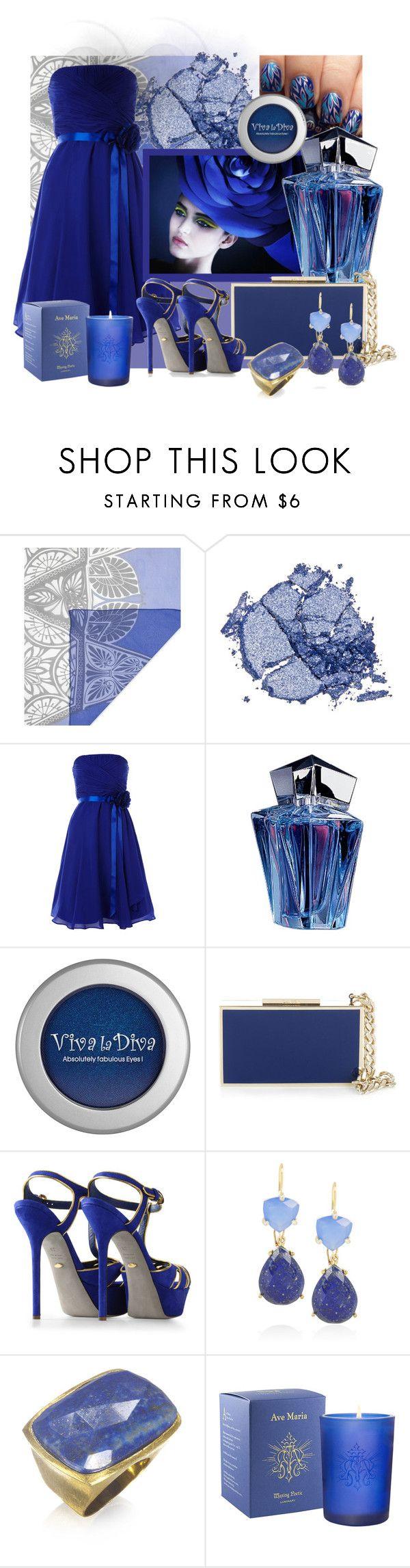 """Dark Blue Fantasy"" by pixidreams ❤ liked on Polyvore featuring Jonathan Saunders, Stila, Thierry Mugler, Viva La Diva, Lanvin, Sergio Rossi, Isharya, Wendy Mink, Waxing Poetic and drop earrings"