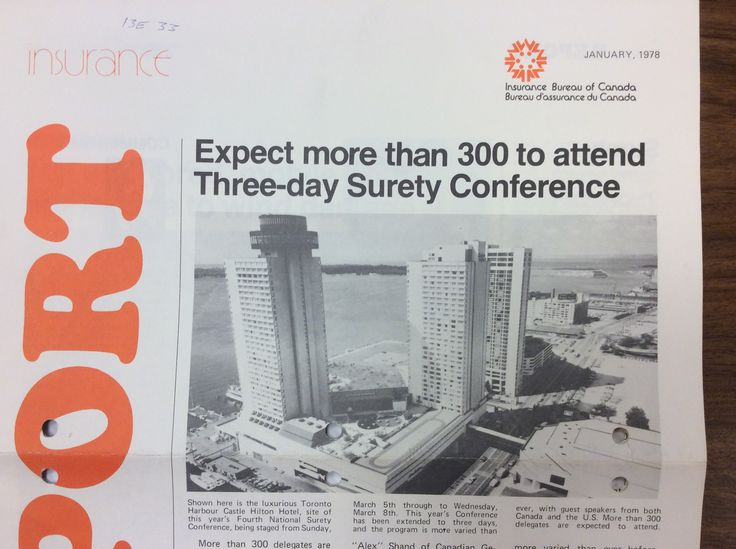 How Harbourfront looked like in 1978. Hilton Hotel was the venue of the IBC Surety Conference.