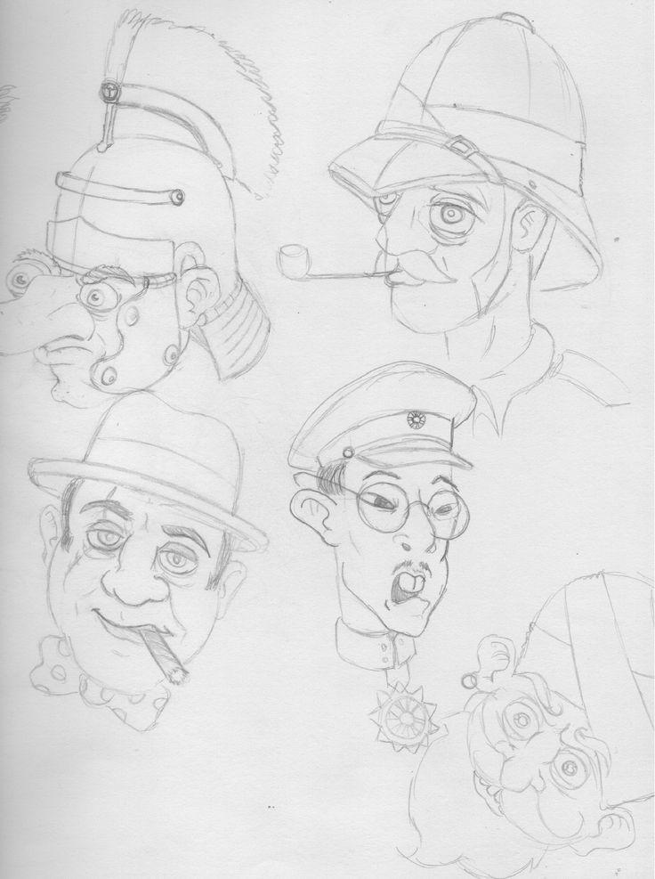 The second half to and A3 sheet of cartoon faces