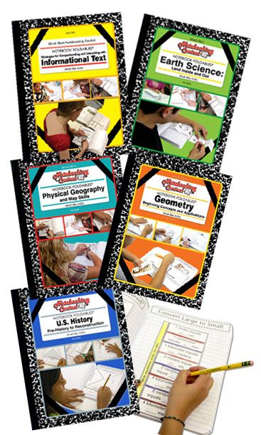 Organize student work into notebooks for different subjects.