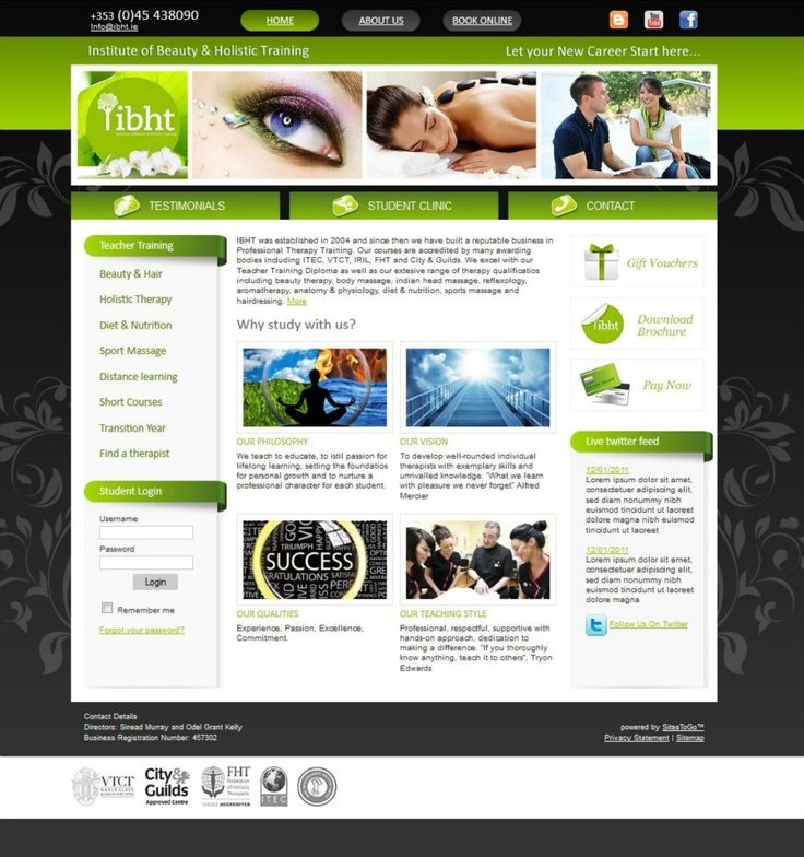 The Institute of Beauty & Holistic Training wanted a website that would provide more information on their extensive range of courses. There is a student area on the site to allow students to access course material.  Gift vouchers are also available to purchase on the website through GiftGallery.ie
