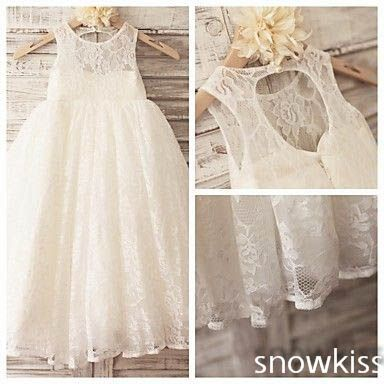 >> Click to Buy << 2016 boho keyhole back A-line french lace flower girl dresses for beach weddings kid first communion dress princess party frocks #Affiliate