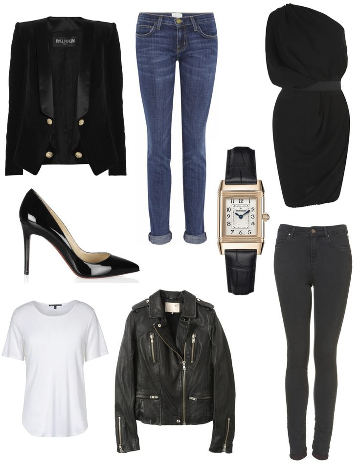 Parisienne Classics - Balmain smoking blazer, Current/Elliott cuffed jeans, Jaeger-LeCoultre watch, Lanvin little black dress, Christian Louboutin Pigalle pumps, Topshop high waisted skinny jeans, Theskens' Theory white tee, Iro leather motorcycle jacket