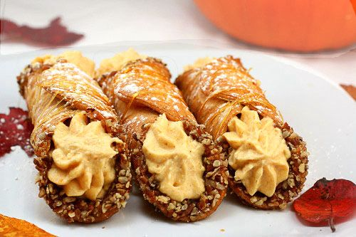 Pumpkin Cheese Cannoli. Crisp, delicate cannoli shells with a luscious perfectly spiced, pumpkin cream cheese filling.