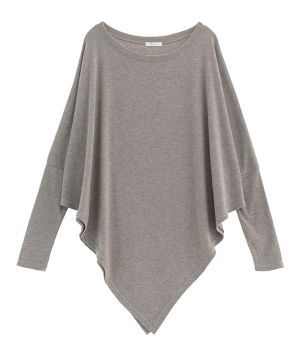AnnaKastle Women's Boat Neck Long Dolman Sleeve Asymmetrical Poncho Sweater Size SM in PaleBrown