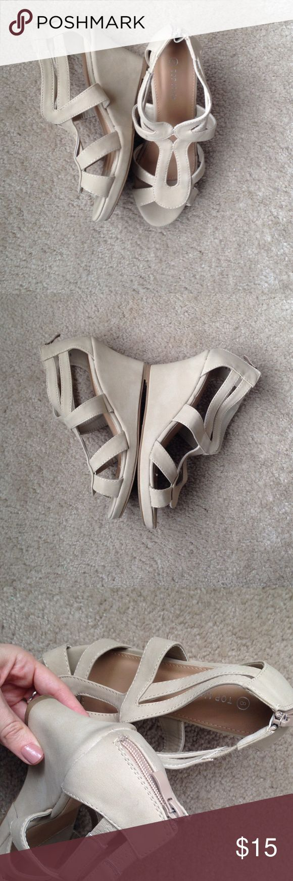 "Top Moda Nude Zip Up Sandal Wedges Size 8 Worn once to a bridal shower. Nude Zip back wedges with cute cut out design on front. 3-3.5"" heel. Minimal wear. One shoe has slight glue from factory on the outside. Not Lulus, but for exposure. Top moda brand.                                                                 As a buyer, please know your size and ask questions before purchasing. I am not responsible for items that do not fit or if you are unfamiliar with you sizing in the brand…"