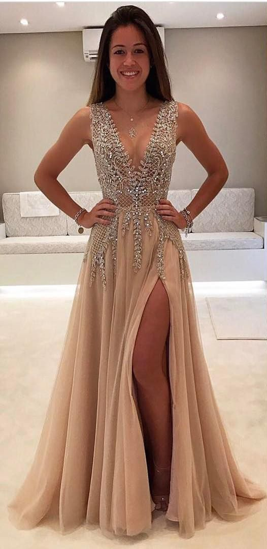 4b8202c605db Gorgeous V-Neck Sleeveless Prom Dress | 2019 Long Chiffon Evening Dress  With Slit From