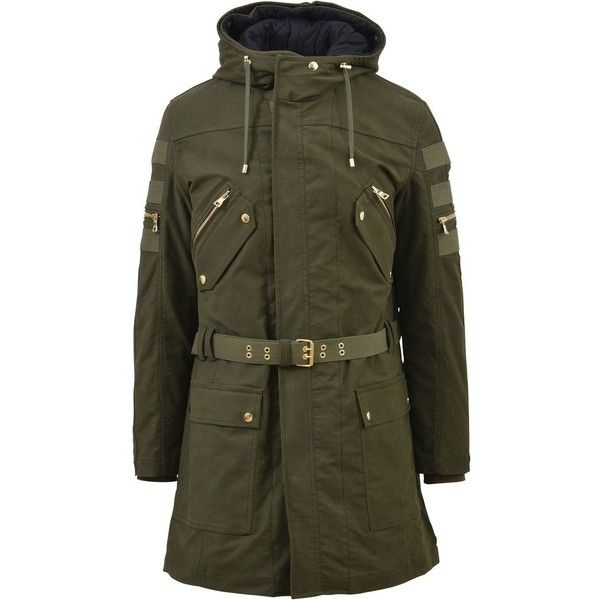 Green Military Parka Jacket (3,375 CAD) ❤ liked on Polyvore featuring men's fashion, men's clothing, men's outerwear, men's jackets, army, mens green jacket, mens hooded jackets, mens military style jacket, mens green quilted jacket and mens green parka jacket