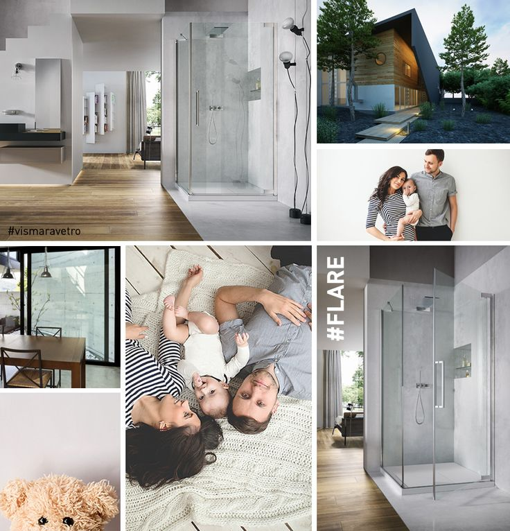 #interiors - Modern bathroom in modern home. Young family. Moodboard lifestyle. Flare by @vismaravetro - bathroom and shower ideas. #moodboard