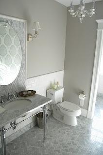 Beautiful glossy grey bathroom - via Swoon