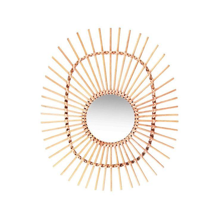 Bamboe spiegel - ovaal
