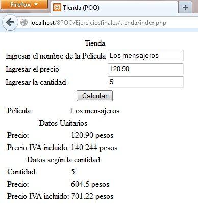 Salida programa Tienda de Peliculas - POO PHP