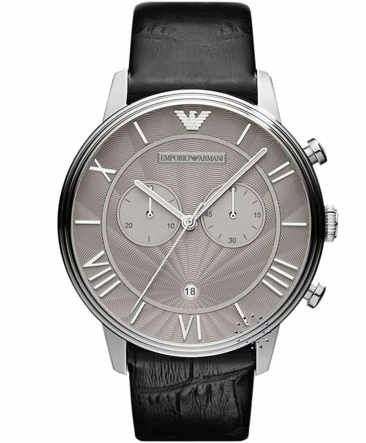 Emporio Armani Classic Black Leather Strap, 329€ http://www.oroloi.gr/product_info.php?products_id=30877