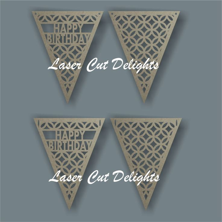 Laser cut 3mm mdf birthday flag bunting
