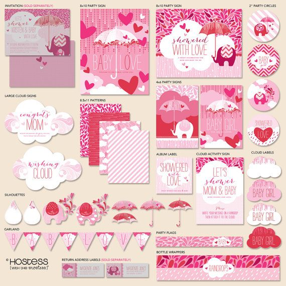 """Instant Download - Showered With Love Baby Shower - """"The Hostess"""" PRINTABLE Party Collection (Pink/Red) on Etsy, $22.00"""