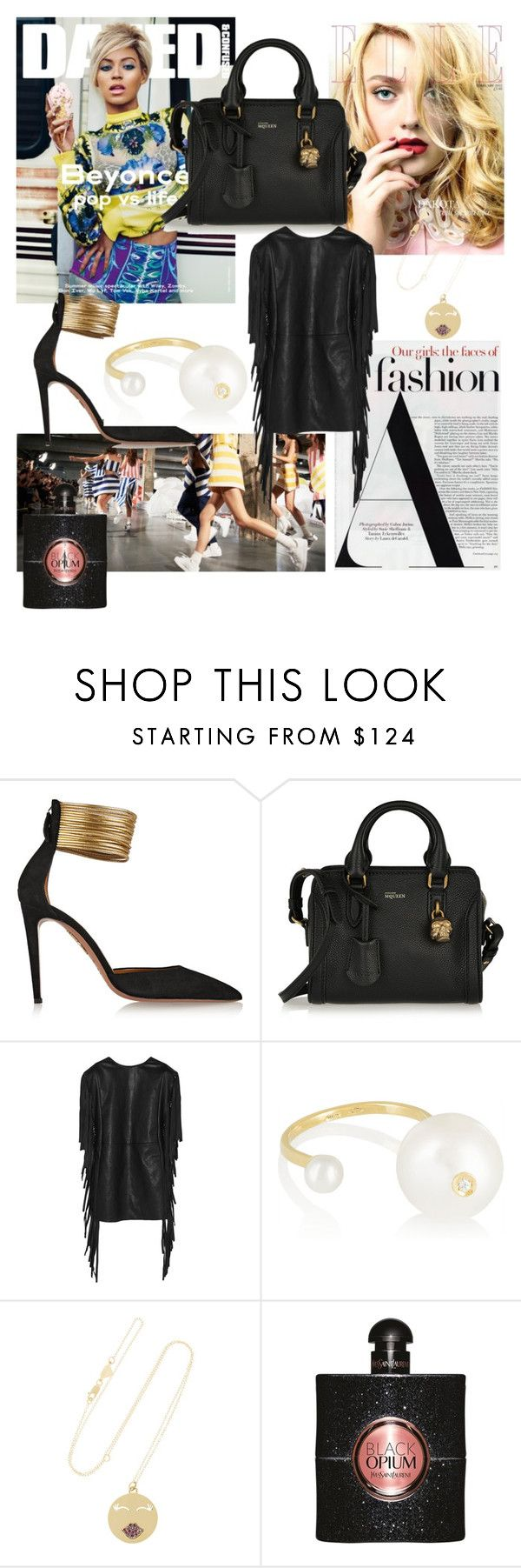 """""""Goodbye 2014"""" by victimedelamode ❤ liked on Polyvore featuring Aquazzura, Alexander McQueen, Yves Saint Laurent, Delfina Delettrez and Alison Lou"""