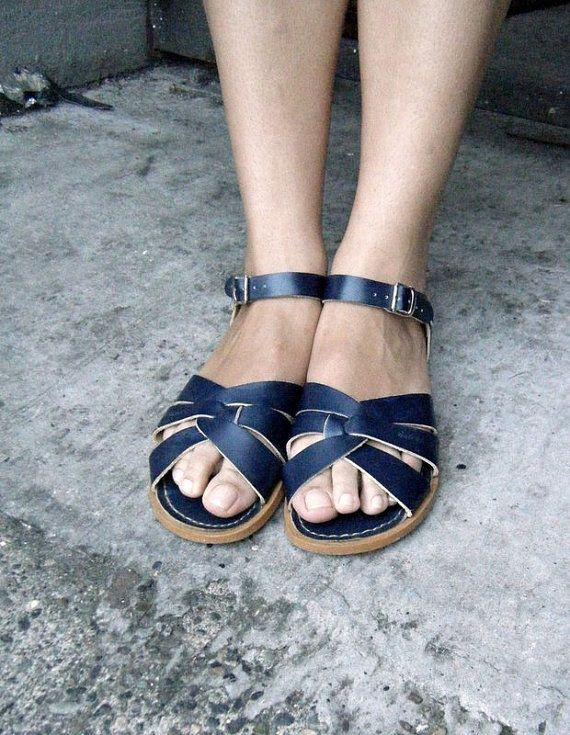 San-Sun Vintage Surfer SALT WATER SANDALS in navy blue leather, womens size 8 via Etsy