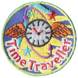 Time, Travel, Traveler, Traveller, Wings, Clock, Watch, Star, Patch, Embroidered Patch, Merit Badge, Badge, Emblem, Iron On, Iron-On, Crest, Lapel Pin, Insignia, Girl Scouts, Boy Scouts, Girl Guides