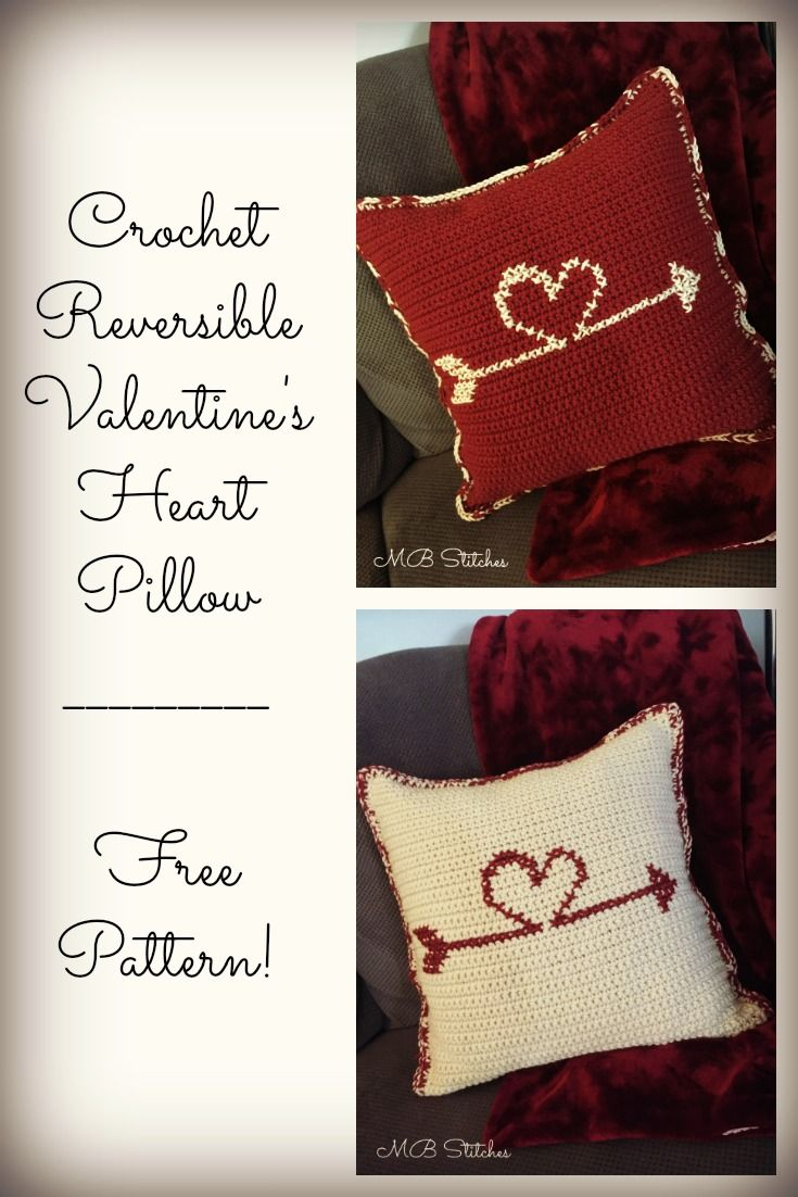 Crochet Reversible Throw Pillow for Valentine's Day - Free Pattern!