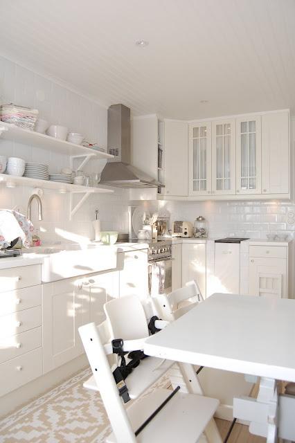 White Swedish IKEA kitchen with open shelving