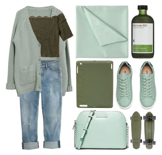 """""""boyfriend: sam"""" by cnellepoms ❤ liked on Polyvore featuring J.Crew, Hollister Co., Simmons, MICHAEL Michael Kors, Perricone MD, Nixon, denim, GREEN, boyfriendjeans and mint"""