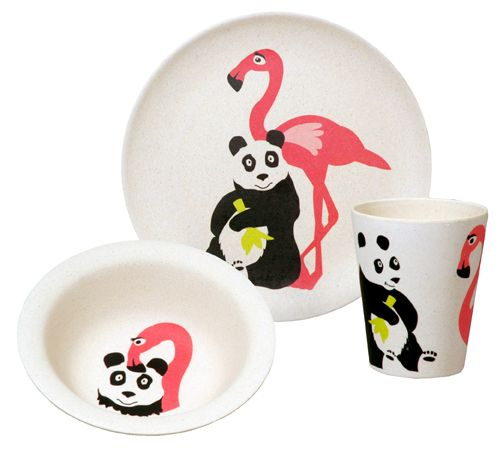 HUNGRY FLAMINGO. Kids set of 3 pcs. Based on biodegradable bamboo fiber and corn starch. Eco-friendly