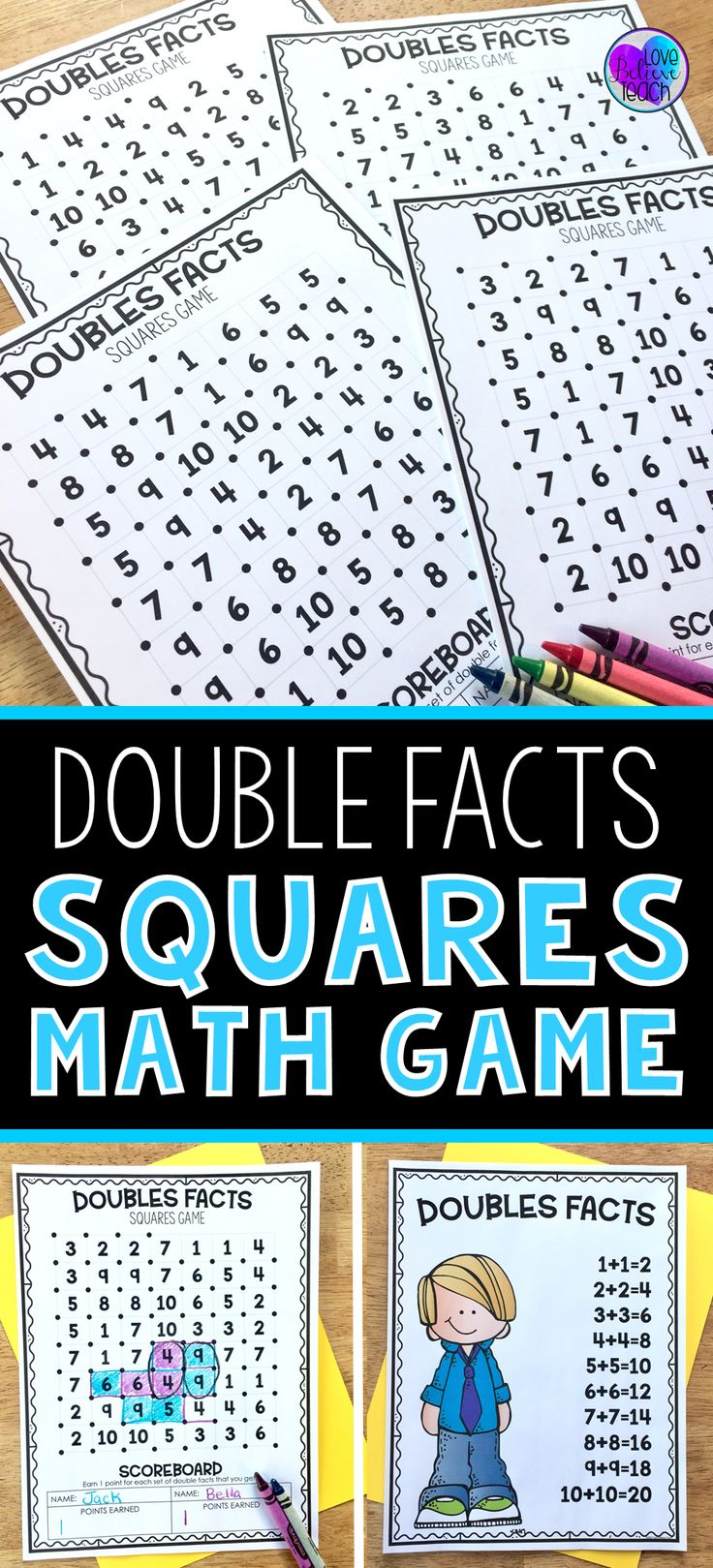 Help improve your first grade and second grade students' fact fluency by practicing double facts with this fun game. Just add it into your math rotations, math centers, Friday Fun Day, or have it available for your fast finishers. Double Facts Squares Math Game- is a simple activity to learn yet fun to play again and again. #mathpracticegames