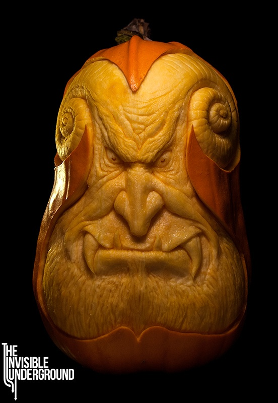 ❀⊱╮Watermelon Carving / Food Art / Fruit Art / food carving / Oni - pumpkin sculpture by Shawn Feeney