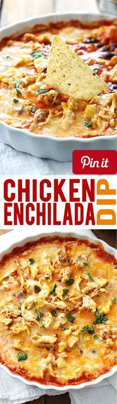 Cheesy chicken enchilada dip - an easy and tasty family favorite appetizer or side dish!Ingredients Meat 1 Chicken breast Produce 1 small can Black beans 1/3 cup Cilantro 1 cup Corn frozen yellow Baking & Spices 2 tbsp Taco seasoning Snacks 1 Tortilla chips Dairy 1 cups Mexican blend cheese Prepared 1 small can Enchilada sauce red #delicious #diy #Easy #food #love #recipe #recipes #tutorial #yummy @Mommas Kitchen - Make sure to follow cause we post alot of food recipes and DIY we post Food…