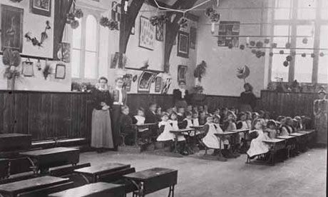 Manor Street Primary School in England in the 19th Century - larger cities could segregate children by age, whereas more rural areas and smaller towns used the one-room schoolhouse approach