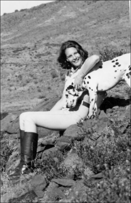 Kate and Pudi the Dalmatian - as daft as a brush but he could run all day behind the horses.