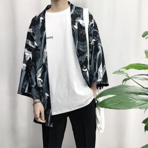 2018 summer men cotton & linen streetwear kimono Crane Printed Chiffon Shirt Sun…