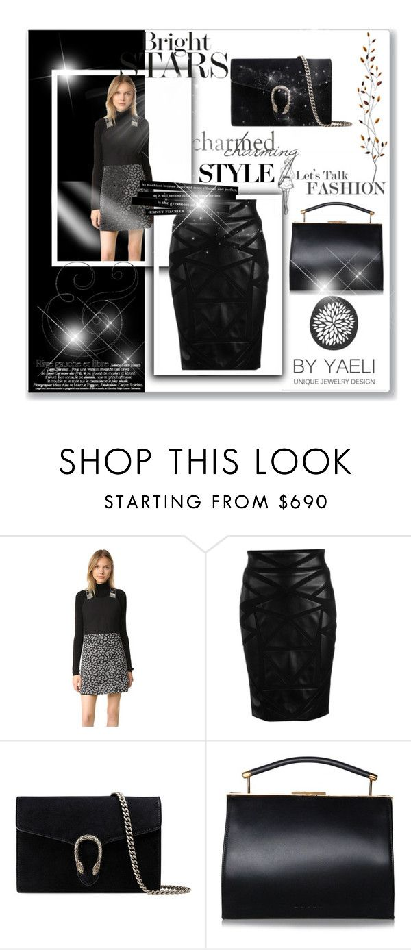 """""""black backgroud"""" by gadinarmada-1 ❤ liked on Polyvore featuring Carven, Versace, Gucci and Pier 1 Imports"""