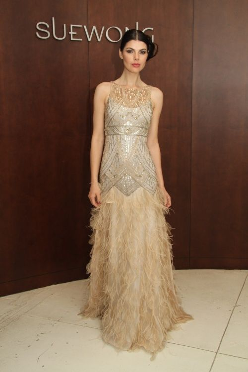 Sue wong gold fringe dress simply stunning another great for Sue wong wedding dresses