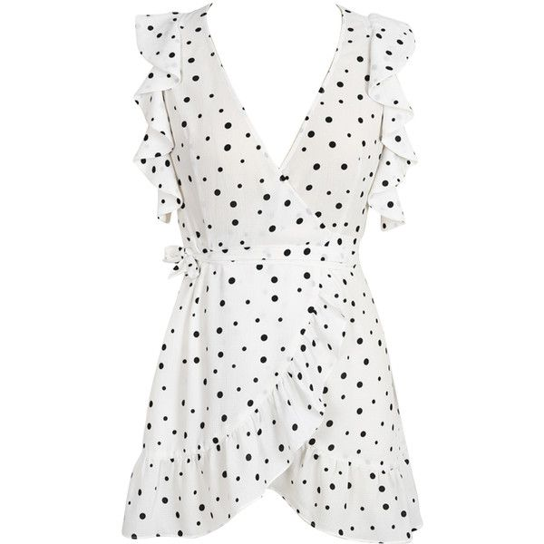 White V Neck Polka Dot Ruffle Wrap Dress ($30) ❤ liked on Polyvore featuring dresses, v neck wrap dress, wrap dress, white day dress, flutter-sleeve dresses and flounce dress