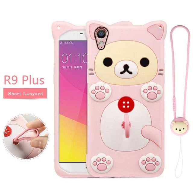 fashion full cover case soft Silicone case for oppo r9/r9 plus a Lanyard and a elastic ring buckle for mobile phone cartoon case