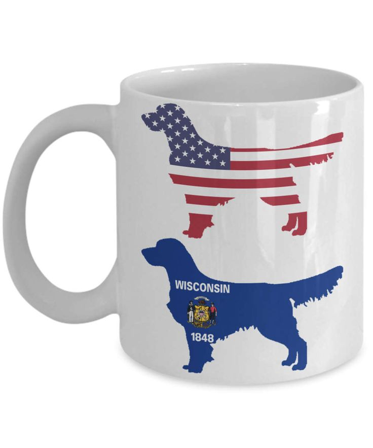 Golden Retriever Gifts For Dog Lovers - Wisconsin Flag And United States Of America Flag By Live Love Frolic - Cute Ceramic Coffee Cup by LiveLoveFrolick on Etsy