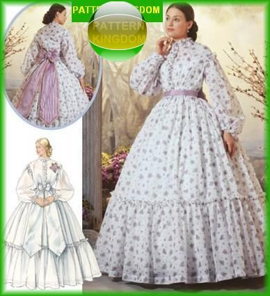 Civil War Ladies Wedding Dresses | civil war era las day dress pattern wedding 6 12 s5442 ebay civil war ...